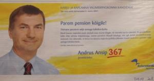 Ansip valimiste lubadus 2007. on osutunud valeks, sest 4 aastaga ei ole pensionid kahekordistunud.